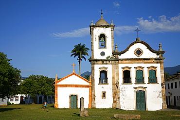 View over Santa Rita church, Paraty (Parati), Rio de Janeiro State, Brazil, South America