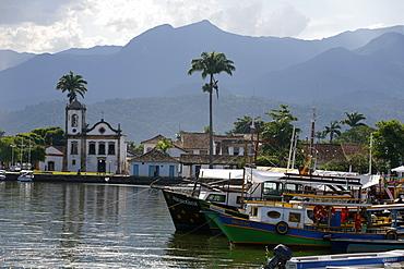 View over Santa Rita church and the harbour, Paraty (Parati), Rio de Janeiro State, Brazil, South America