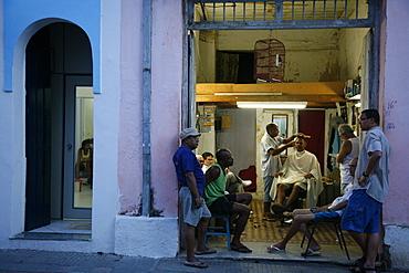 Men at a local barber's shop, Cachoeira, Bahia, Brazil, South America
