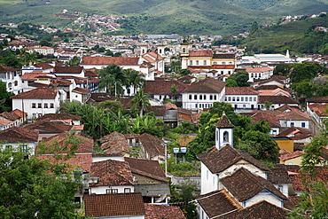 View over Mariana from the from the bell tower of Basilica de Sao Pedro dos Clerigos, Mariana, Minas Gerais, Brazil, South America