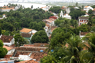 View over the old town of Olinda from Praca do Se, UNESCO World Heritage Site, Olinda, Pernambuco, Brazil, South America
