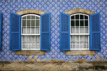 House covered with azulejos (tiles), Ouro Preto, UNESCO World Heritage Site, Minas Gerais, Brazil, South America