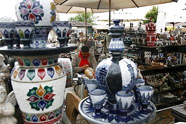 Craft market near Sao Francisco de Assis church, Ouro Preto, Minas Gerais, Brazil, South America