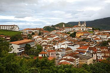 A view over the town of Ouro Preto from near the church of Sao Francisco de Paula, Ouro Preto, UNESCO World Heritage Site, Minas Gerais, Brazil, South America