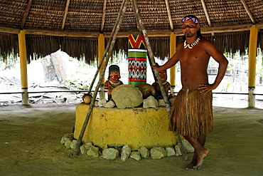The ceremonial house of the Pataxo Indian people at the Reserva Indigena da Jaqueira near Porto Seguro, Bahia, Brazil, South America