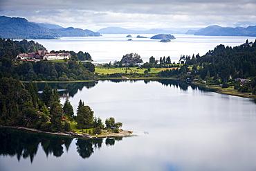 View over Nahuel Huapi lake and Llao Llao hotel near Bariloche, Lake District, Patagonia, Argentina, South America