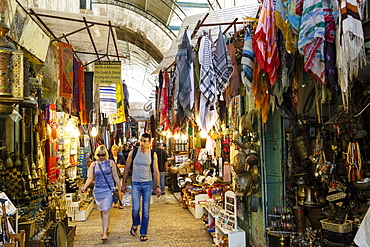 Arab souk, covered market, in the Muslim Quarter of the Old City, Jerusalem, Israel, Middle East