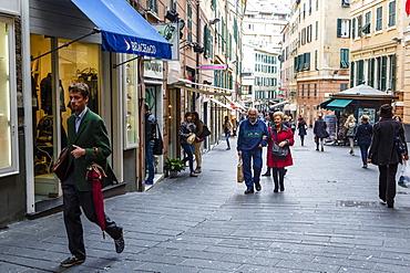 Street scene in the old city, Genoa, Liguria, Italy, Europe