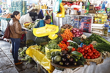 Vegetable stall at San Pedro Market, Cuzco, Peru, South America