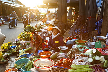 Fruit and vegetable vendors at the Central Market, Hoi An, Vietnam, Indochina, Southeast Asia, Asia