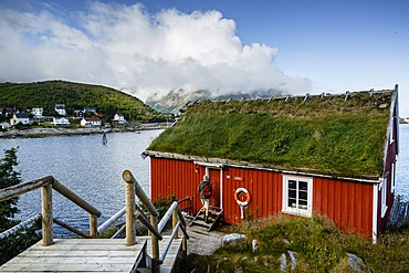 Traditional fishing cabin converted to a hotel, Reine Rorbuer hotel in Reine, Lofoten Islands, Arctic, Norway.Scandinavia, Europe