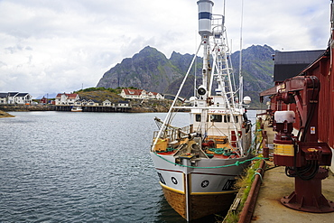 Whale fishing boat, Henningsvaer, Lofoten Islands, Arctic, Norway, Scandinavia, Europe