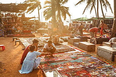 Tibetan selling their craft at the Wednesday Flea Market in Anjuna, Goa, India, Asia