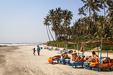 People at Ashvem Beach, Goa, India, Asia