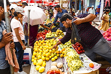 Fruits and vegetables stalls at Mapusa Market, Goa, India, Asia