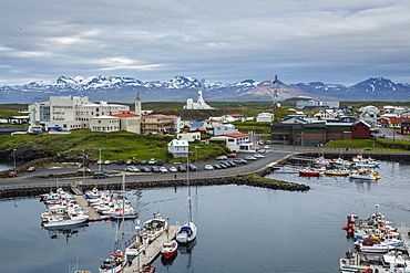 View over the fishing port and houses at Stykkisholmur, Snaefellsnes peninsula, Iceland, Polar Regions