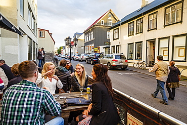 People sitting at a bar, Reykjavik, Iceland, Polar Regions
