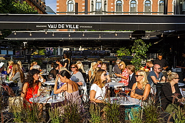 People sitting at a restaurant, Stockholm, Sweden, Scandinavia, Europe