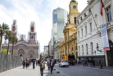 National Historic Museum and the Correo Central buildings on Plaza de Armas, Santiago, Chile, South America