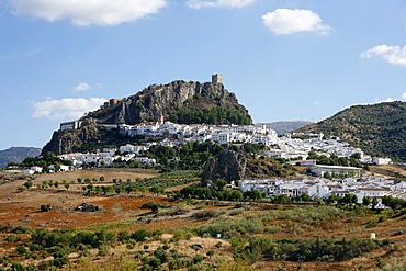 View over Zahara village at Parque Natural Sierra de Grazalema, Andalucia, Spain, Europe