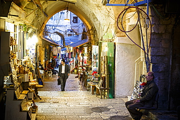 Street with shops in the Muslim Quarter of the Old City, UNESCO World Heritage Site, Jerusalem, Israel, Middle East
