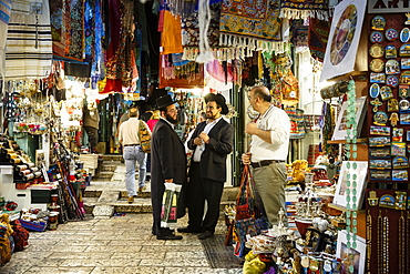 Street with shops in the Muslim Quarter of the Old City, Jerusalem, Israel, Middle East