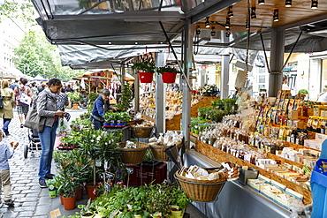 Wochenmarkt (Farmers Market) at Kollwitzplatz, Prenzlauer Berg, Berlin, Germany, Europe