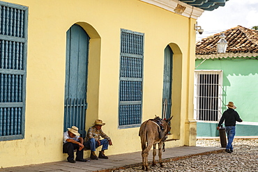 Elderly men sitting with donkey at the street, Trinidad, Sancti Spiritus Province, Cuba, West Indies, Caribbean, Central America
