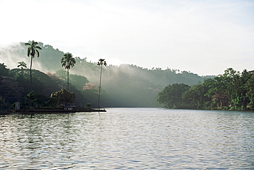 Early morning view over Kandy Lake, Kandy, Sri Lanka, Asia