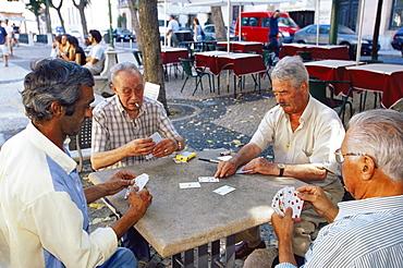 Men playing cards, Chiado quarter, Lisbon, Portugal, Europe