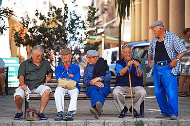 Elderly men, Ile Rousse, Corsica, France, Europe