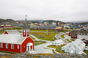 View over houses and the Frelsers Kirke (Our Saviour Church) in the Kolonihavn, Nuuk, Greenland, Polar Regions
