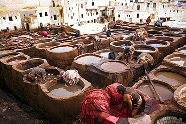 The tanneries souk in the Medina (old town), Fes el Bali, Fes, Morocco, North Africa, Africa