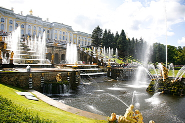 The Grand Cascade at Peterhof Palace (Petrodvorets), St. Petersburg, Russia, Europe