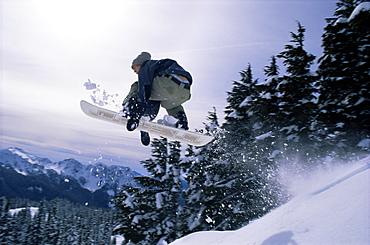 Snowboarder, Mount Rainier, Washington State, United States of America (U.S.A.), North America