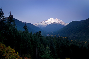 Mt. Rainier at dawn, autumn color in the lower valley, and White River in distance, Washington State, United States of America, North America