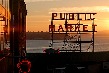 Pike Place market and Puget Sound, Seattle, Washington State, United States of America, North America