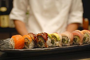 Plate of sushi, Japanese restaurant, Japan, Asia