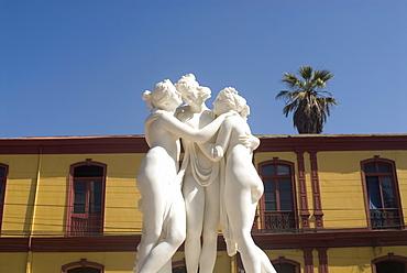 Greek like statue of three women embracing, La Serena, Chile, South America