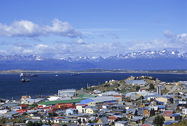 Boats float in the Beagle Channel, the capital of Tierra del Fuego province, Ushuaia, Argentina, South America