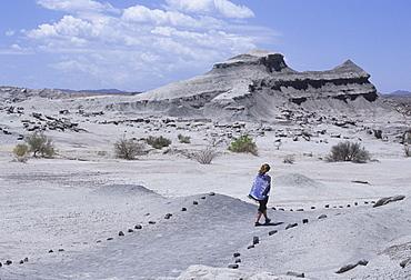 Woman walks to Cancha de Bochas (Expanse of circular stones) in Parque Provincial Ischigualasto (Valle de la Luna), Argentina, South America