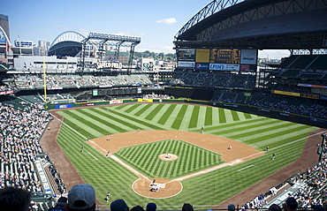 The Seattle Mariners play a day game against the Oakland Athletics at Safeco Field, Seattle, Washington State, United States of America, North America