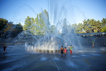 Children play in the fountain at Seattle Center, Seattle, Washington State, United States of America, North America