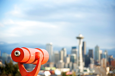 Telescope with view of Seattle skyline in distance, Kerry Park, Seattle, Washington State, United States of America, North America