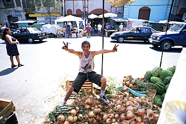 Onions for sale in the largest produce market in the city, Santiago, Chile, South America