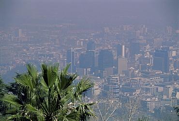 Smog hangs over city, Santiago, Chile, South America