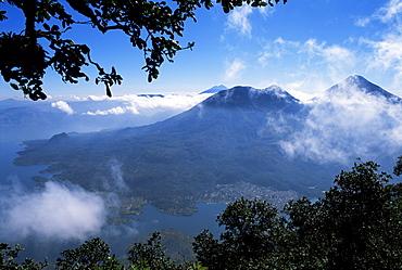 View of lake and town of Santiago, Lago Atitlan (Lake Atitlan), Guatemala, Central America