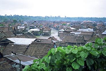 Part of city built closer to the river, Iquitos, Amazon, Peru, South America