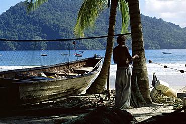 Fisherman, Maracas Bay, northern coast, Trinidad, West Indies, Central America