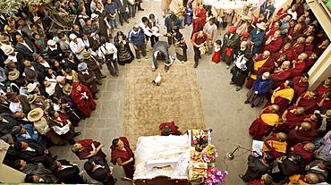 Tibetan Buddhist monks and exiled Tibetan people celebrate Lhosar, the Tibetan new year, Samtenling monastery, next to Boudha or Bodhnath stupa, Kathmandu, Nepal, Asia.